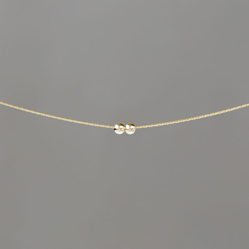 Gold Small Balls on Gold Stringing Chain Necklace