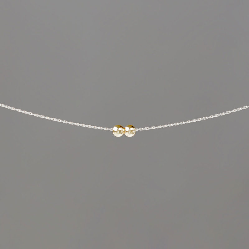 Silver Stringing Chain Necklace with Small Gold Balls