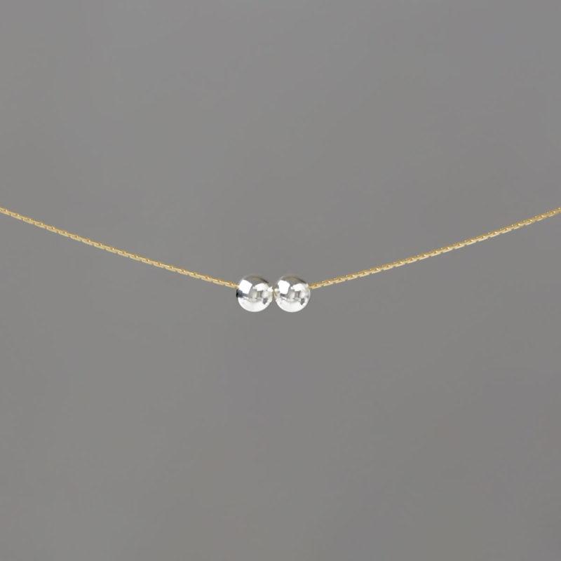 Medium Silver Balls on Gold Stringing Chain