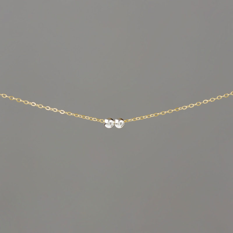 Silver Small Balls on Gold Cable Chain