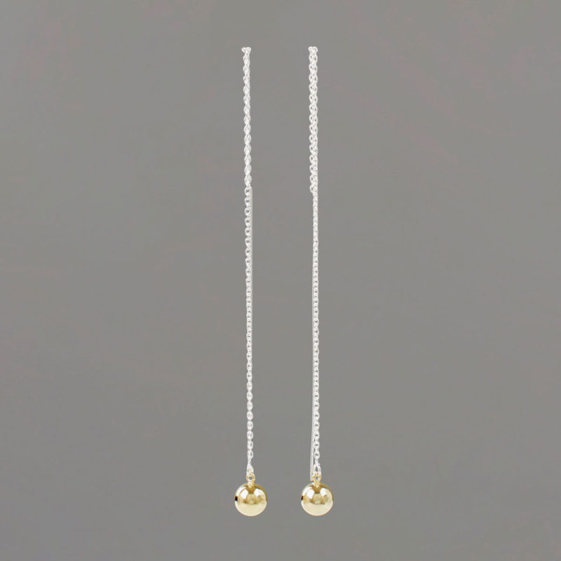 Long Threader Earrings in Sterling Silver with Gold Balls