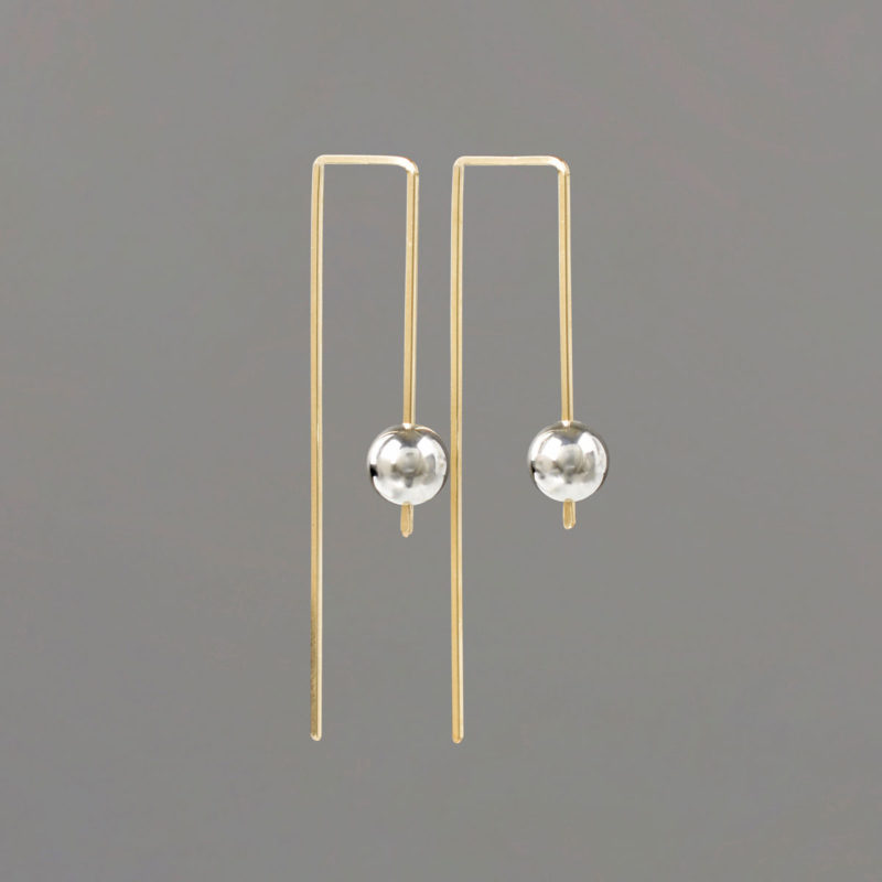Rectangular Earring with Gold Wire and Sterling Balls