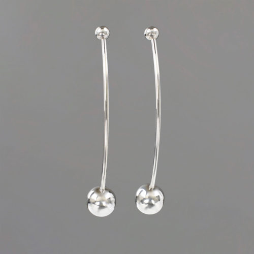 Double Ball Earrings in Sterling Silver