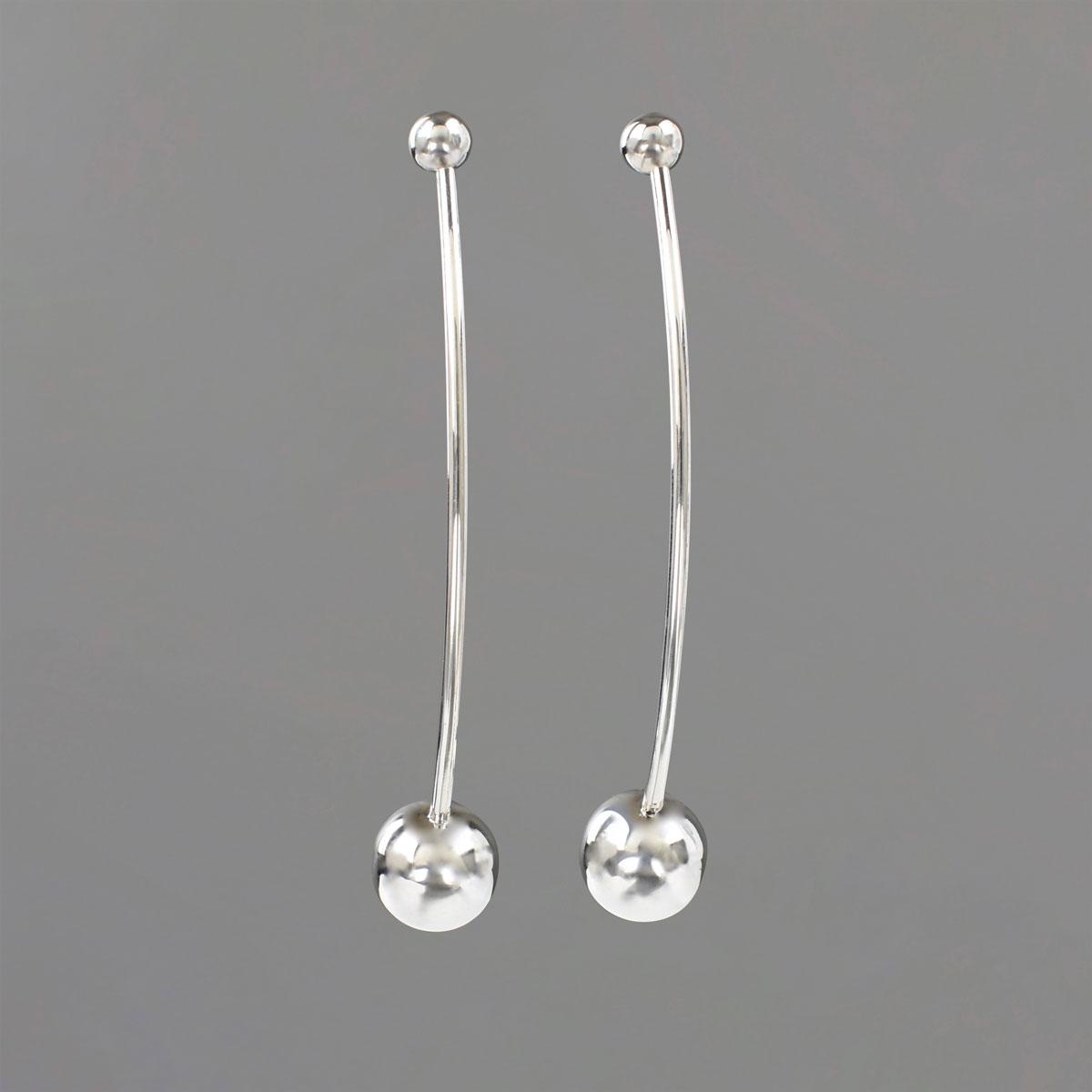 Double Ball Earrings in Sterling Silver