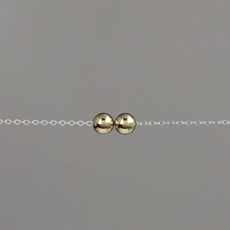 Gold Medium Balls Silver Cable Chain Bracelet