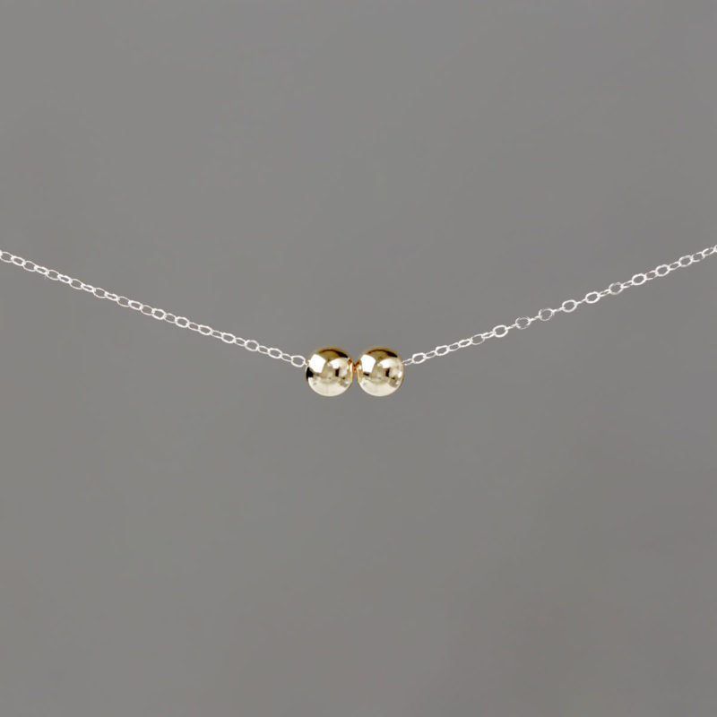 Gold Medium Balls on Silver Cable Chain