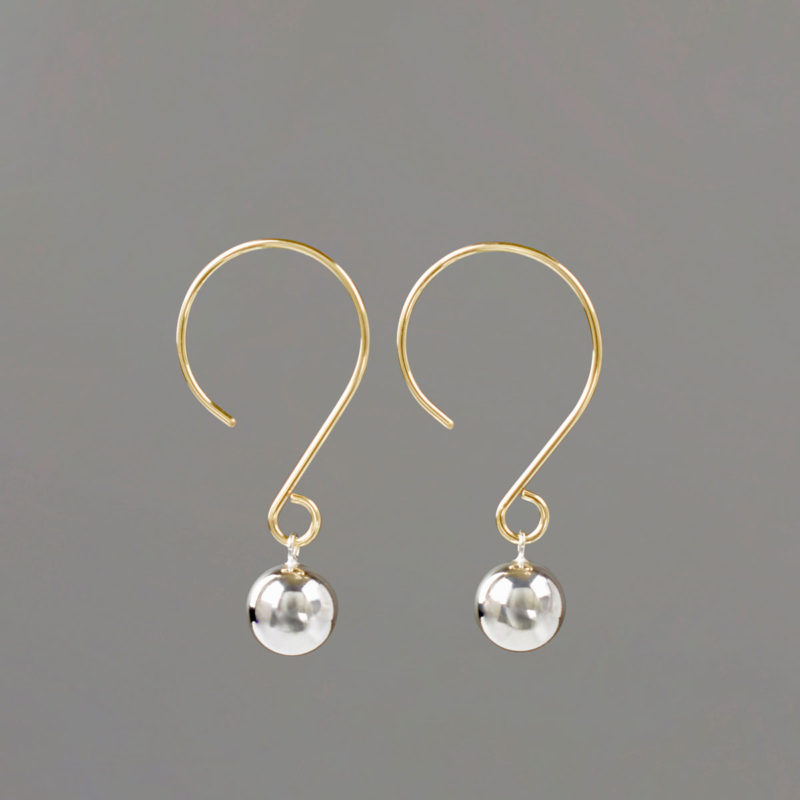 Gold Wire Drop Earrings with Silver Balls