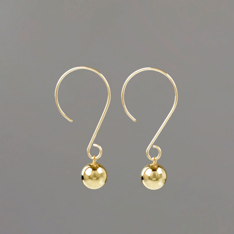 Round Wire Drop Earrings in Gold
