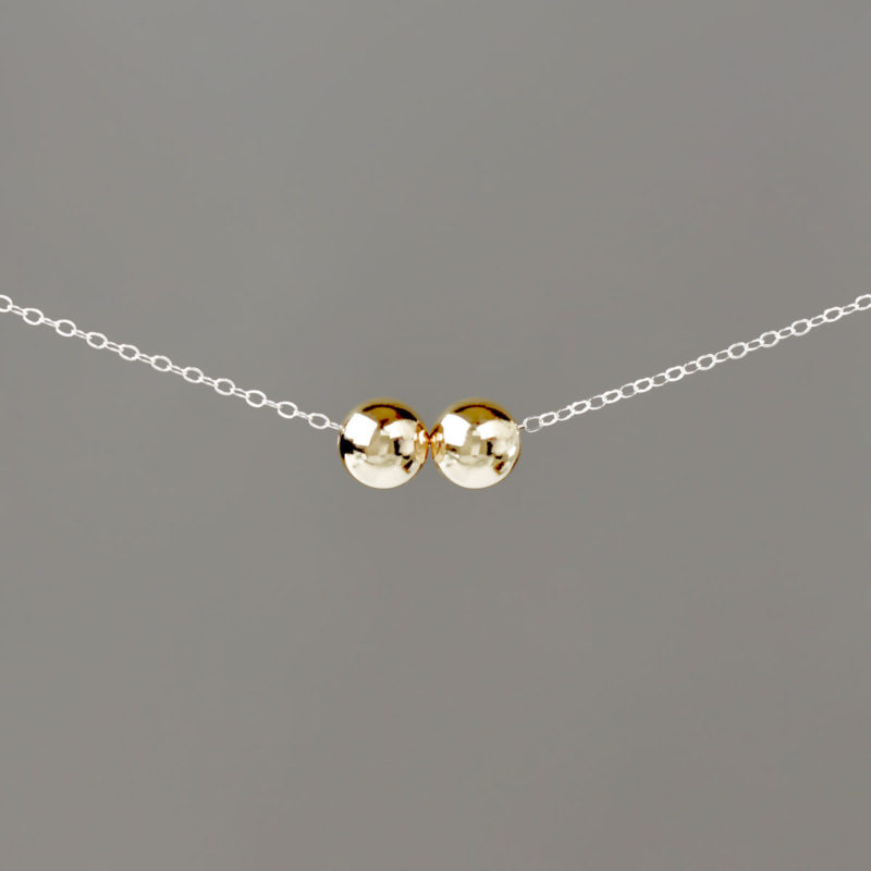 Large Gold Balls on Silver Cable Chain Necklace