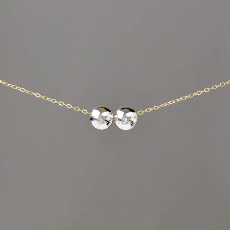 Silver Large Balls on Gold Cable Chain
