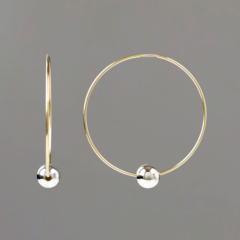 Large Gold Hoop Earrings with Sterling Balls