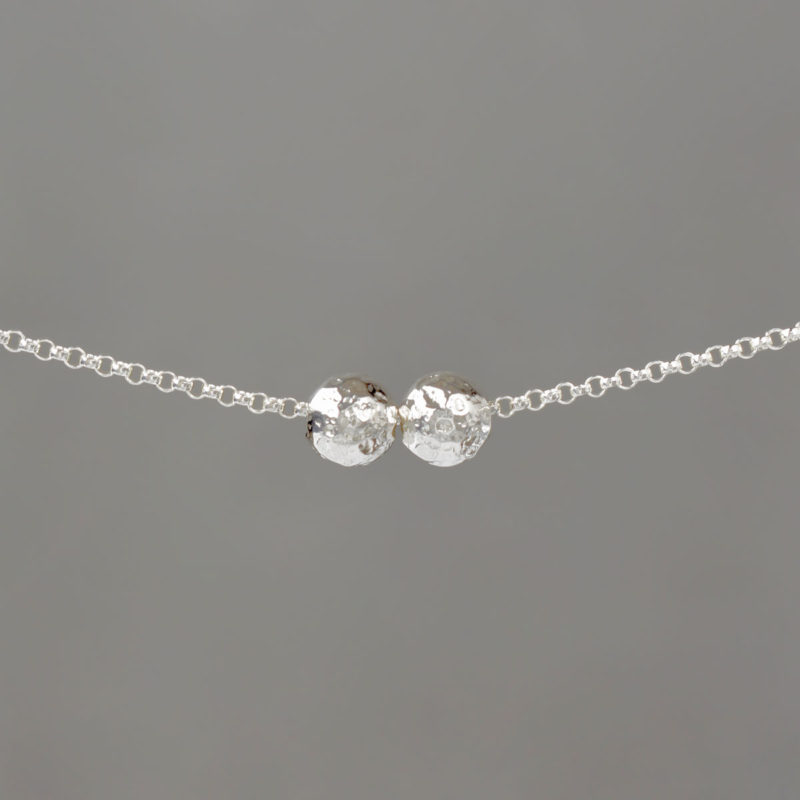 Large Hammered Balls on Sterling Silver Rolo Chain Necklace
