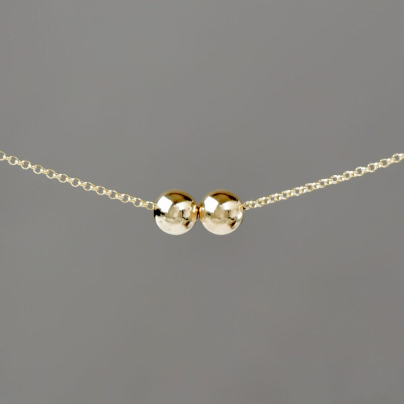 Large Gold Balls on Gold Rolo Chain Necklace