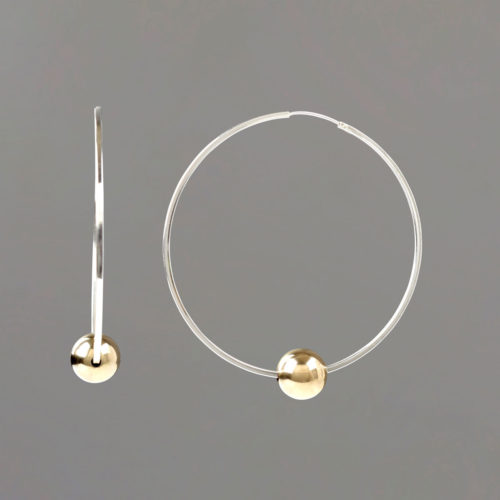 Sterling SIlver Hoop Earrings with Gold Filled Balls