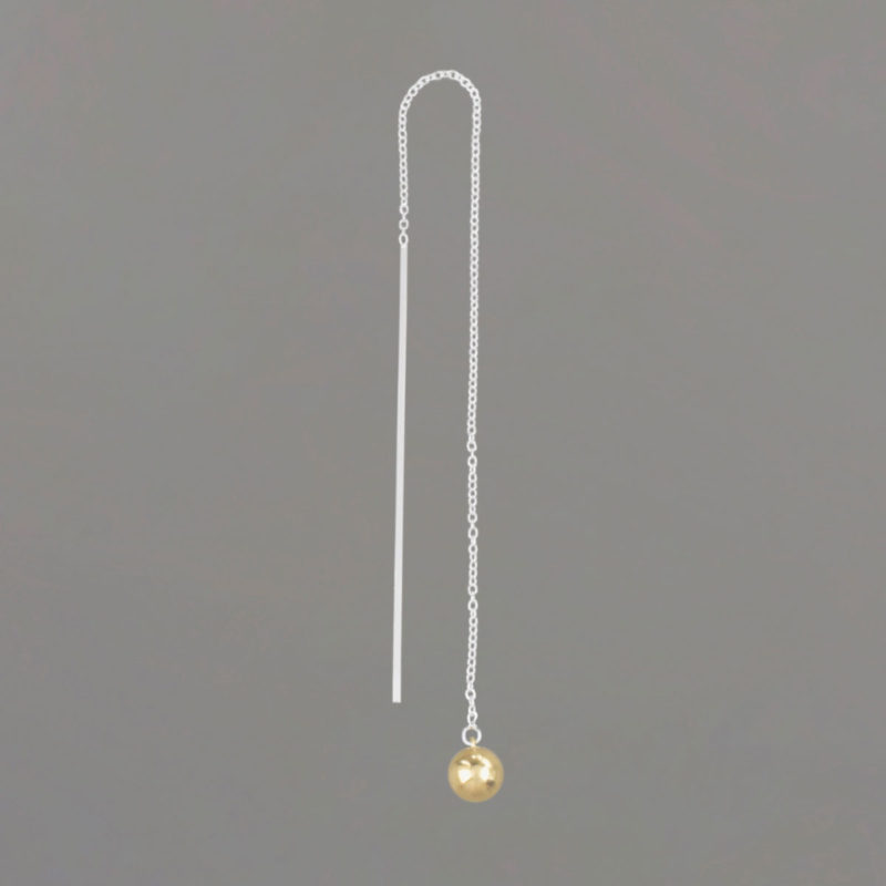 Long Threader Earrings in Sterling Silver with Gold Balls Side View