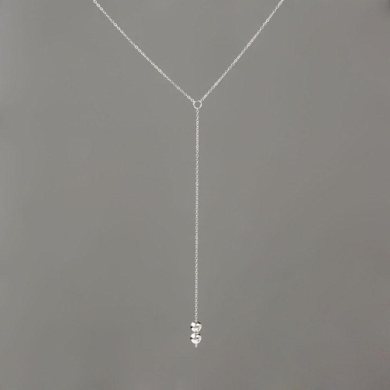 Long Y Necklace in Silver