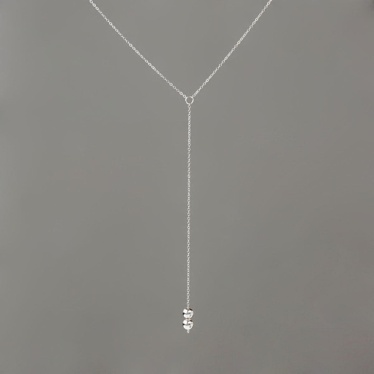 Long Y Necklace in Silver