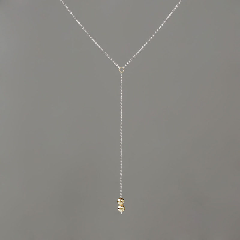 Long Y Silver Chain with Gold Balls
