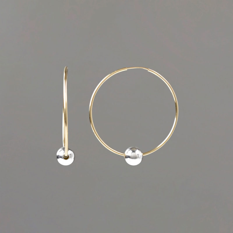Gold FIlled Hoop Earrings with Sterling Balls