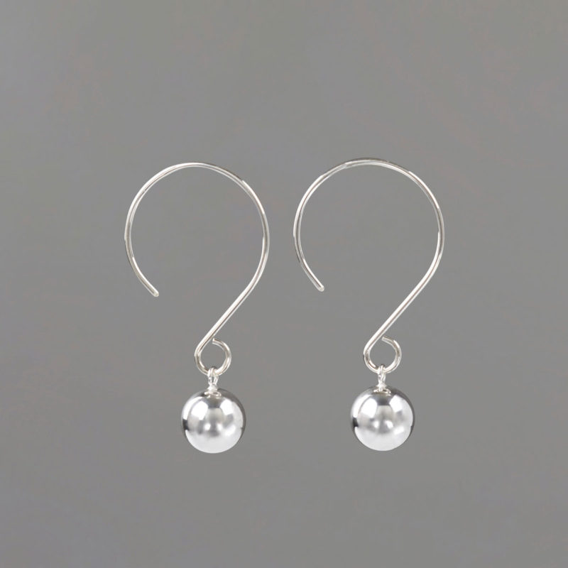 Round WIre Drop Earrings in Sterling Silver
