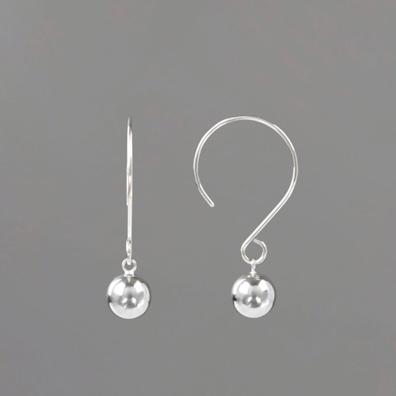 Round WIre Drop Earrings in Sterling Silver Side View
