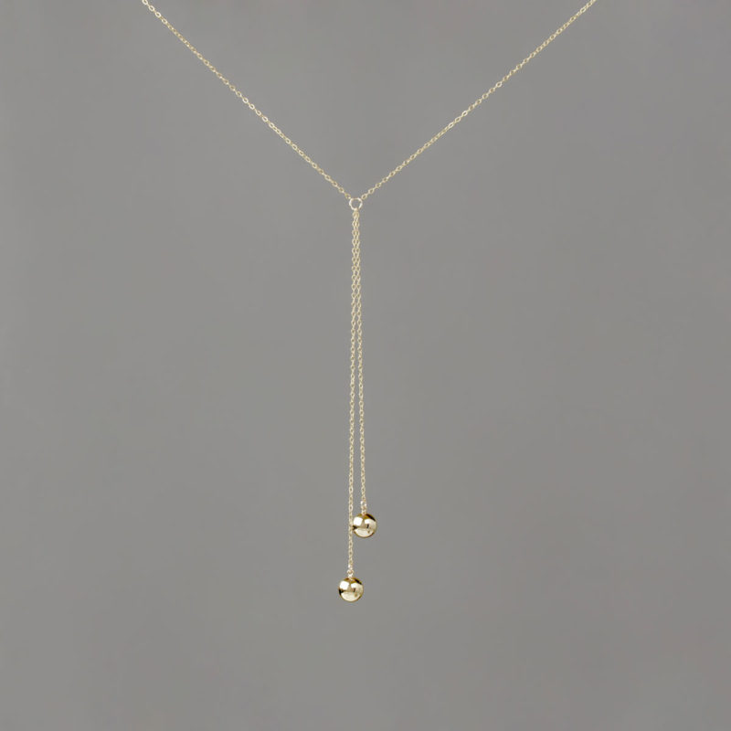 Short Y Double Gold Large Balls in Gold Chain