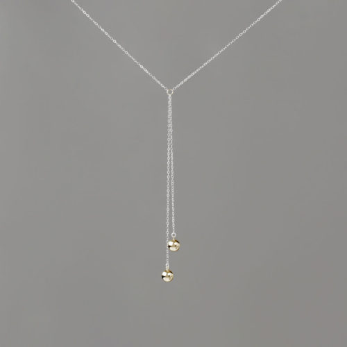 Short Y Silver Chain Necklace with Gold Balls