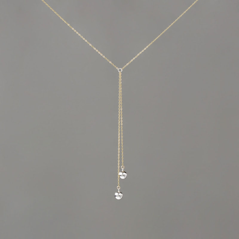 Short Y Double Silver Large Balls in Gold Chain Necklace