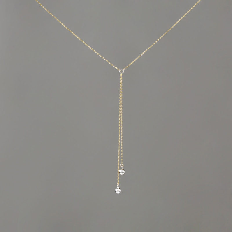 Short Y Silver Medium Balls in With Gold Chain Necklace