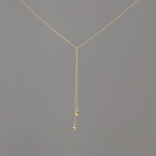 Short Y Medium Balls in Gold Necklace