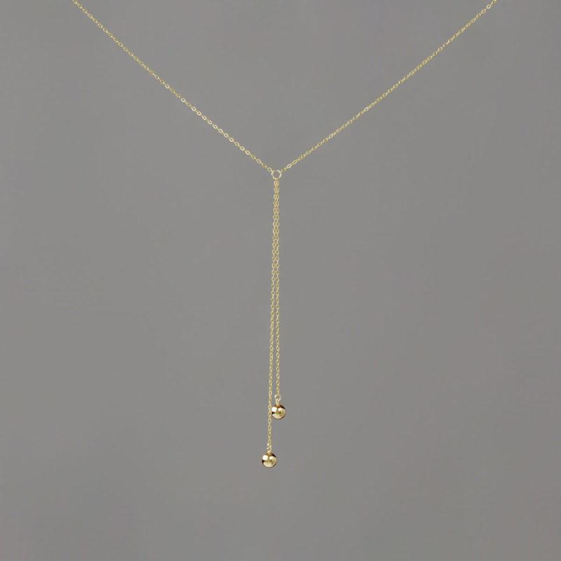 Short Y Medium Balls in Gold Necklace