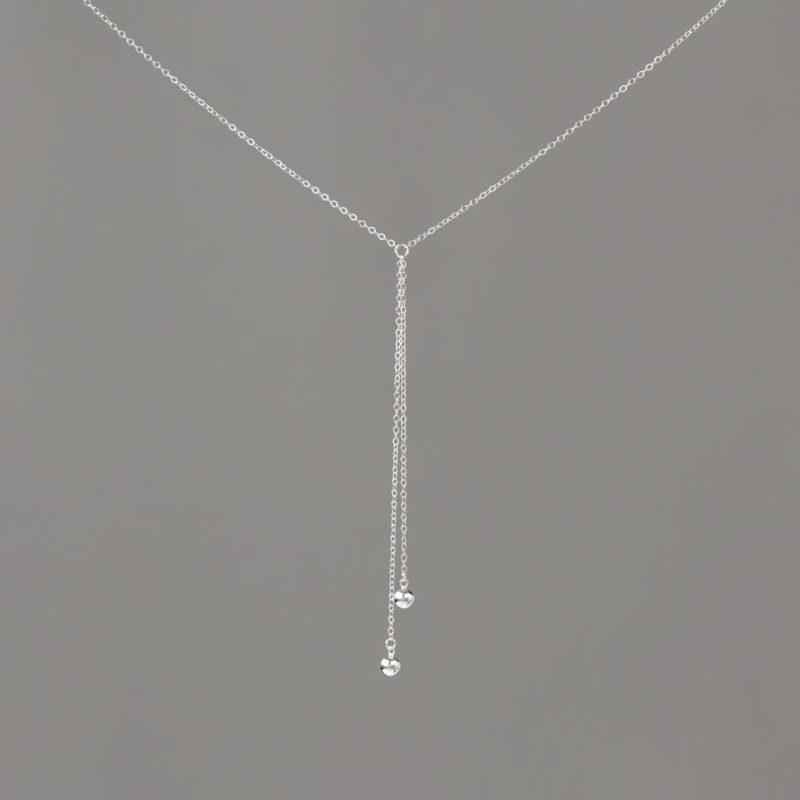 Short Y Medium Balls in Sterling Silver Necklace