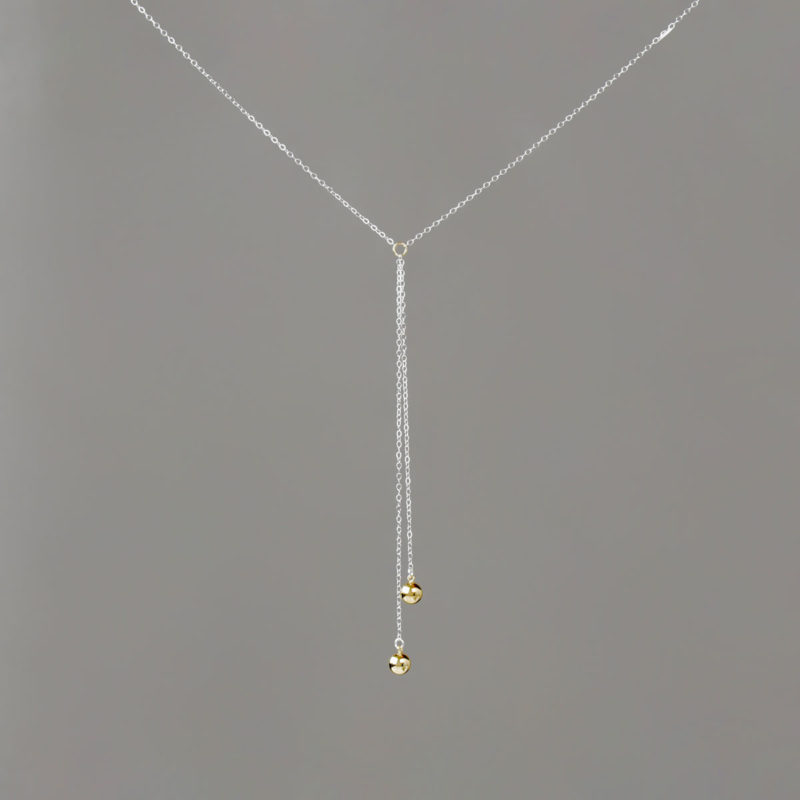 Short Y Gold Medium Balls in With Silver Chain Necklace