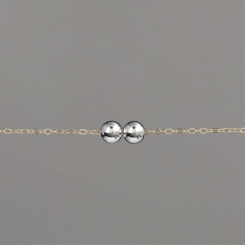 Silver Medium Balls on Gold Cable Chain Bracelet