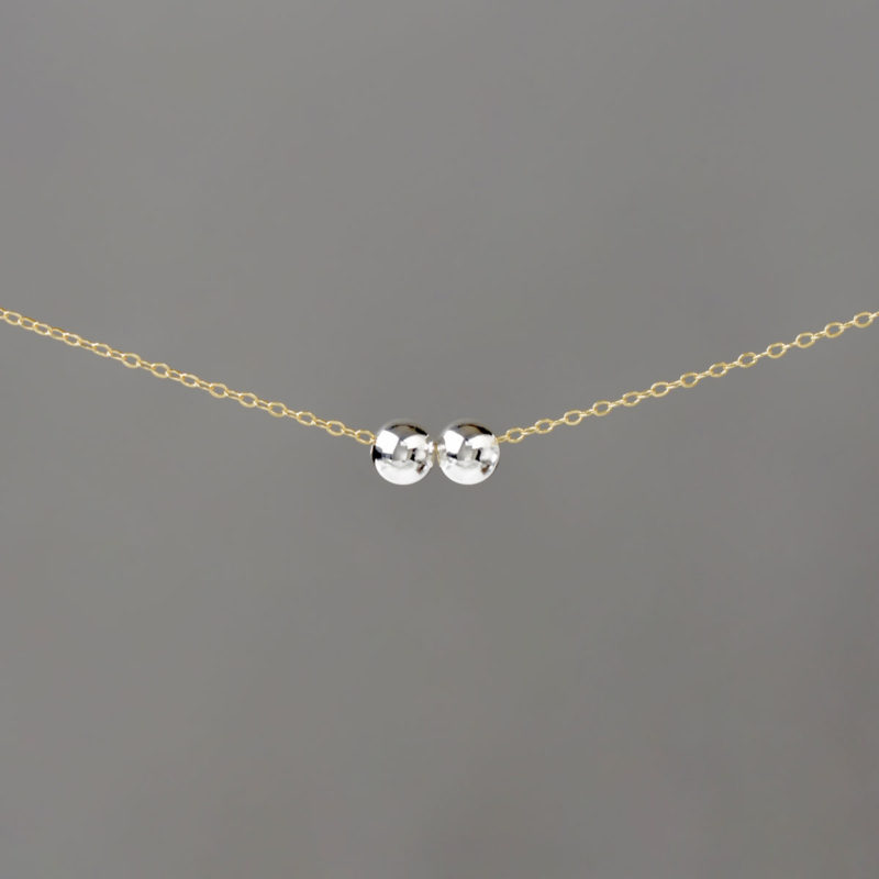 Silver Medium Balls on Gold Cable Chain