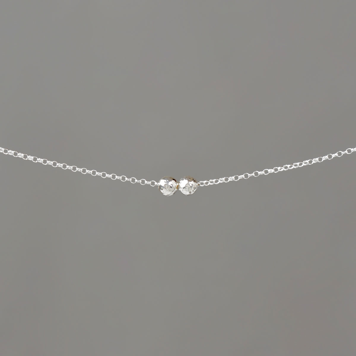 Small Hammered Balls on Rolo Chain in Sterling Silver