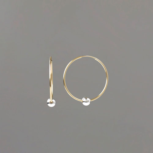 Small Gold Hoop Earring with Silver Balls
