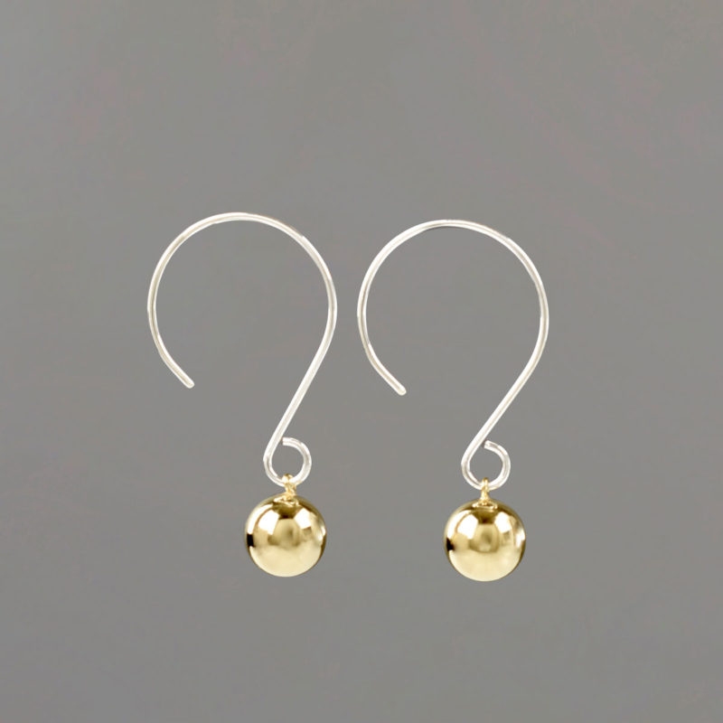 Silver Wire Drop Earrings with Gold Balls