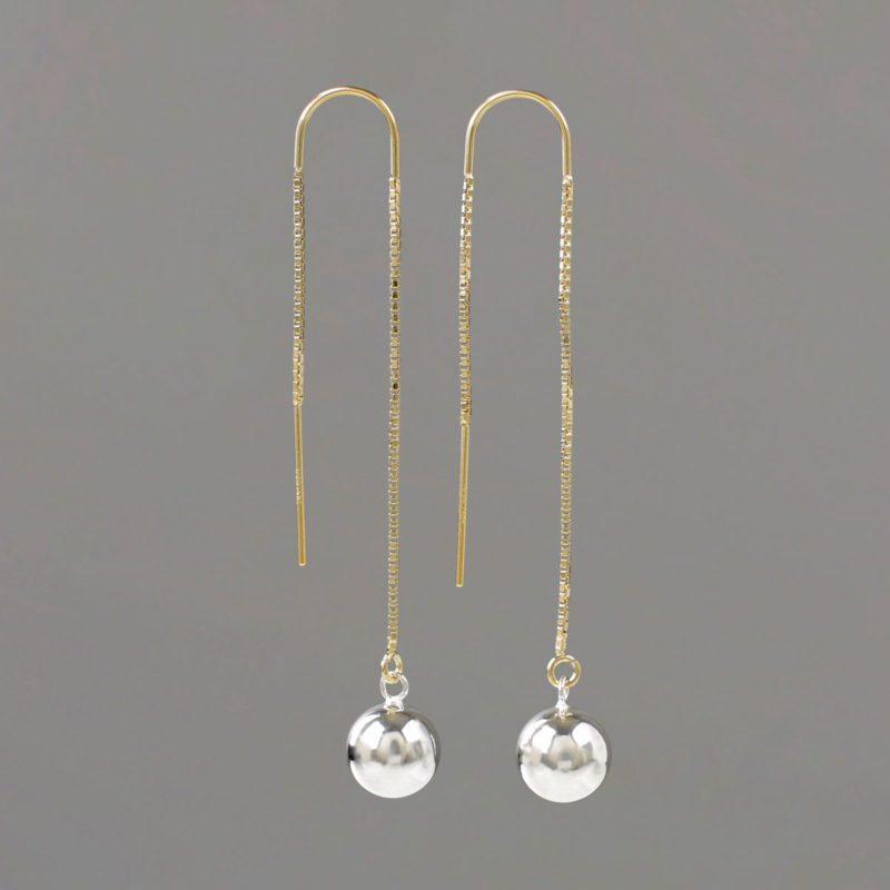 U Threader Earrings with Silver Threader and Gold BallsU Threader Earrings with Gold Threader and Silver Balls
