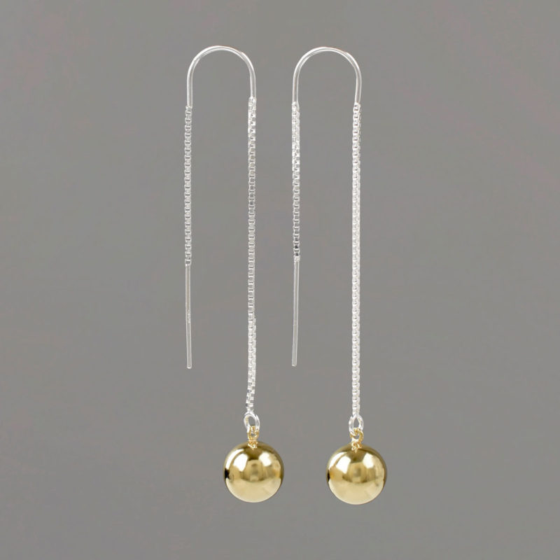U Threader Earrings with Silver Threader and Gold Balls